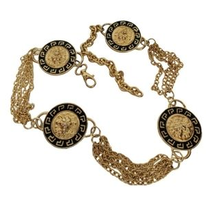 vintage chain belt with lion head